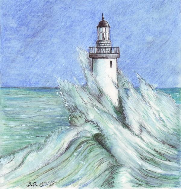 La vague et le phare - Dessin de phare ...
